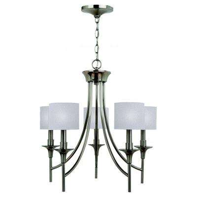 Stirling 5-Light Brushed Nickel Single-Tier Chandelier with Linen Shades