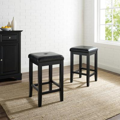 Crosley 24 in. Black Upholstered Square Seat Bar Stool With Black Cushions (Set Of Two)