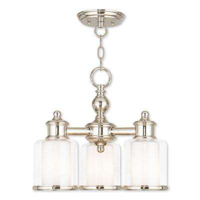 Middlebush 3-Light Polished Nickel Convertible Mini Chandelier with Hand Crafted Clear and Satin Opal White Glass Shade