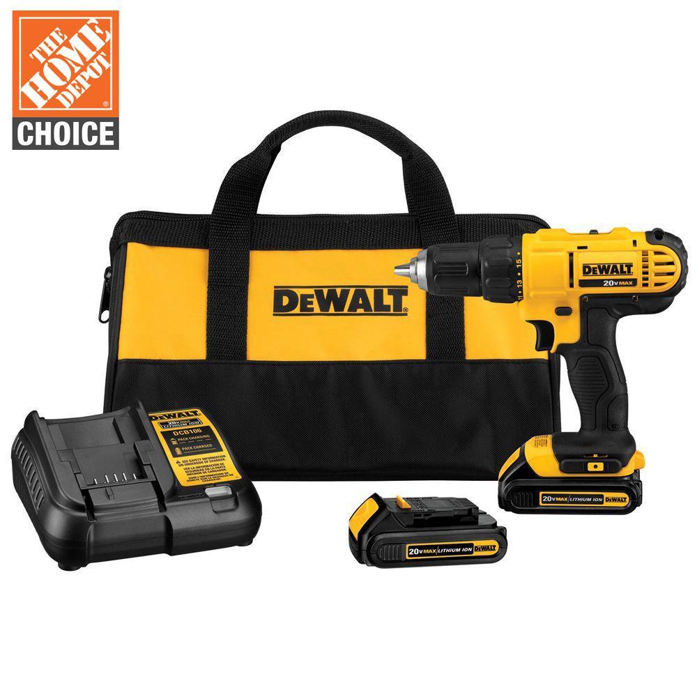 DEWALT 20-Volt MAX Cordless 1/2 in. Drill/Driver, (2) 20-Volt 1.3Ah Batteries, Charger & Bag