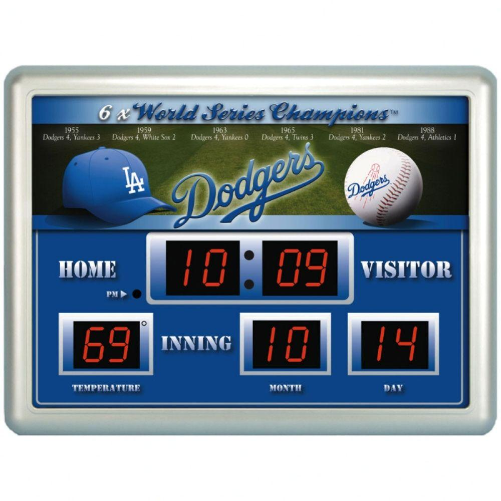 null Los Angeles Dodgers 14 in. x 19 in. Scoreboard Clock with Temperature