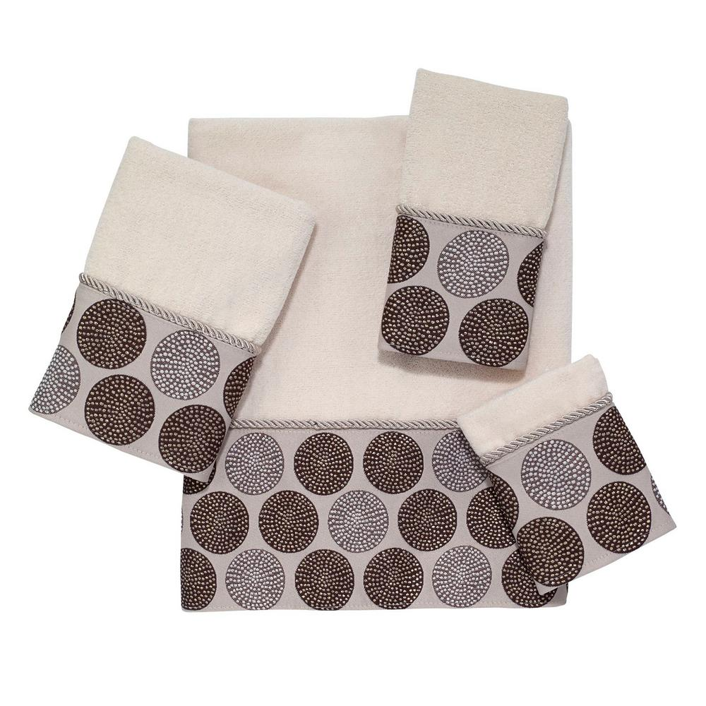 Dotted Circles 4-Piece Bath Towel Set in Ivory