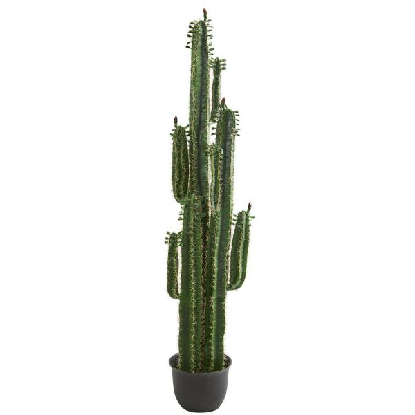 Nearly Natural Indoor 6 5 In Cactus Artificial Plant 8103 The Home Depot