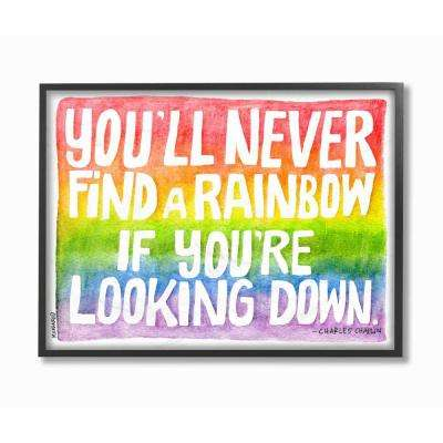 "16 in. x 20 in. ""Find A Rainbow Watercolor Typography"" by Marley Ungaro Printed Framed Wall Art"