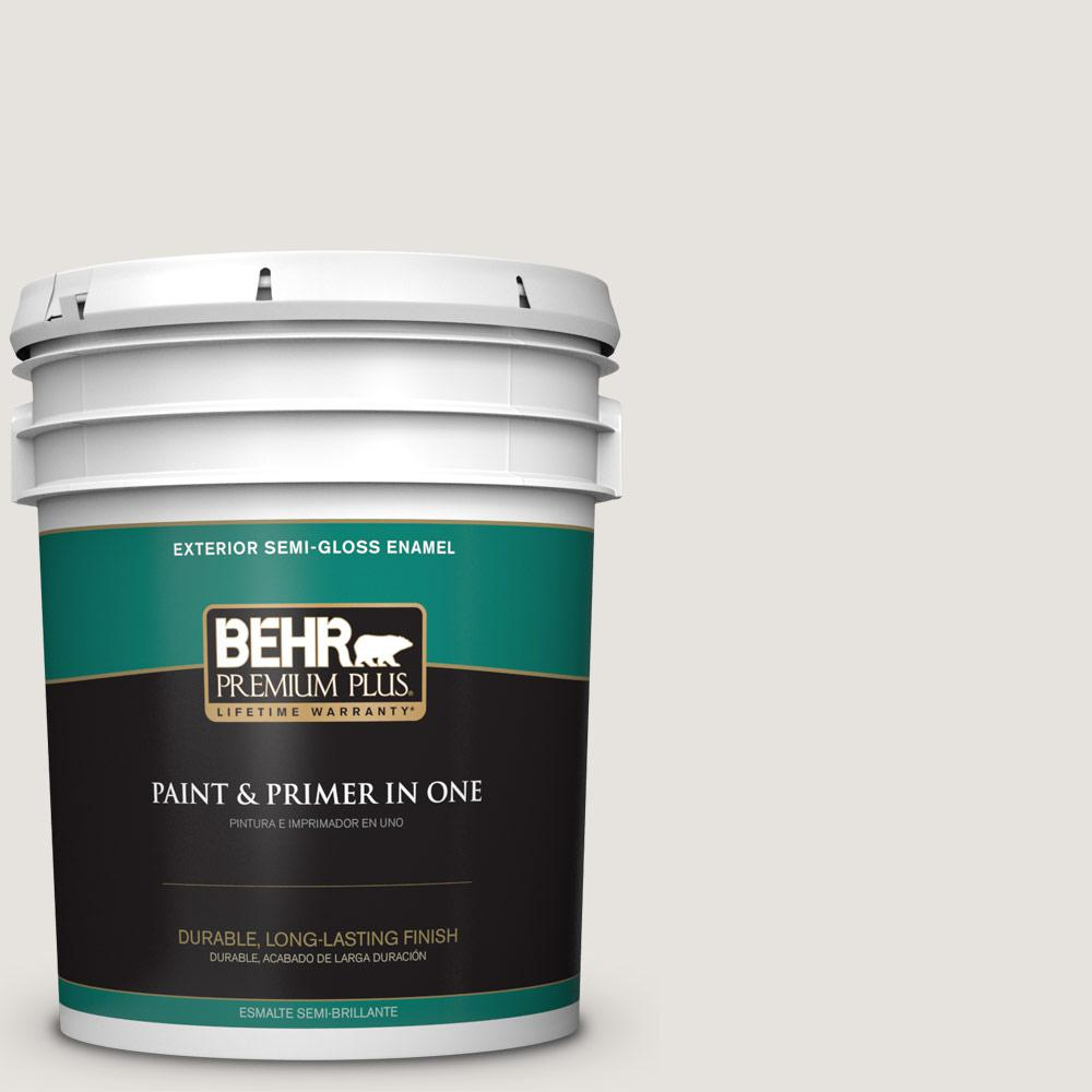 Behr Premium Plus 5 Gal Ppu18 08 Painters White Semi Gloss Enamel Exterior Paint And Primer In One 505005 The Home Depot
