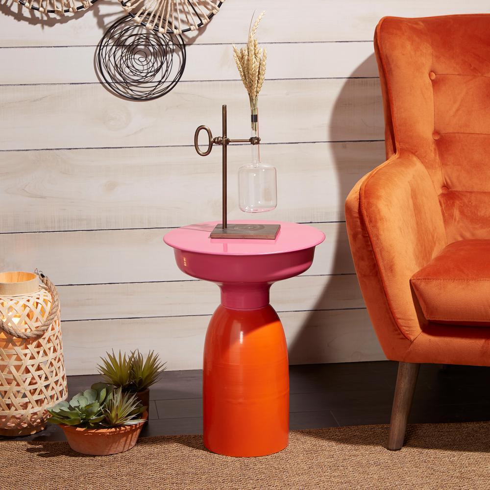 Melinda Fuschia Pink and Orange Side Table