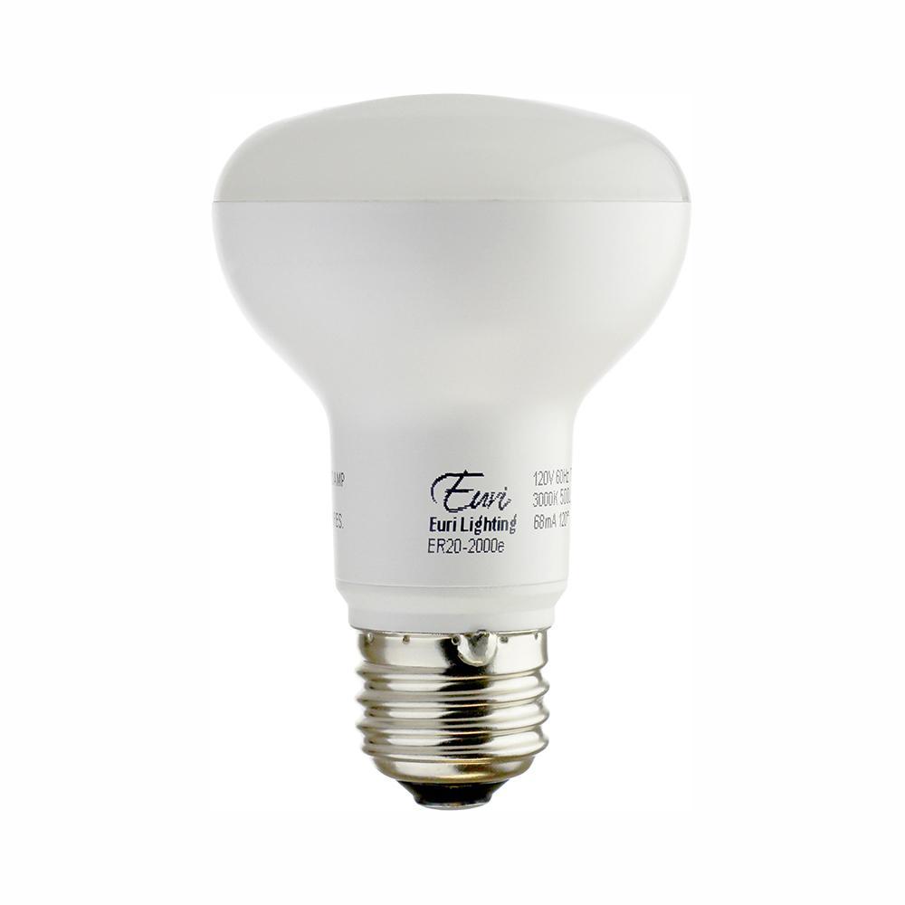 Euri Lighting 50W Equivalent Soft White (3000K) R20 Dimmable MCOB LED Flood Light Bulb