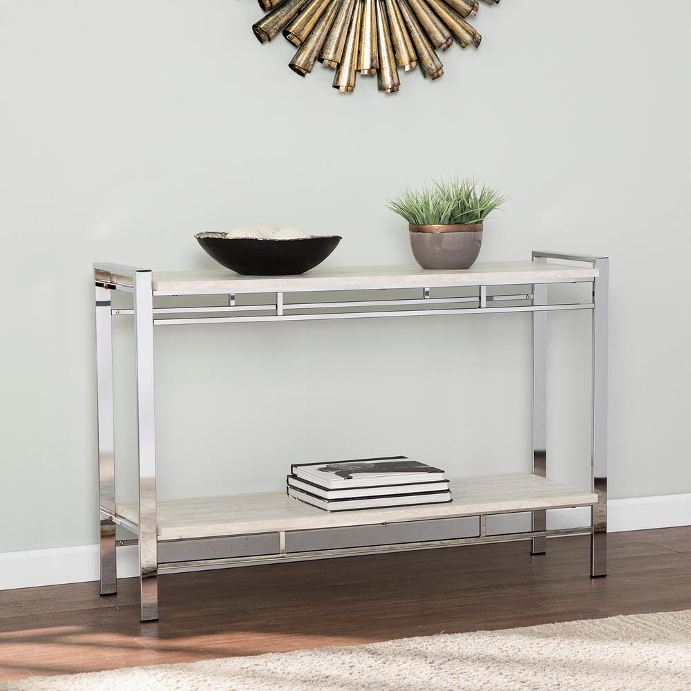 Southern Enterprises Roselita Chrome With White Faux Marble Console