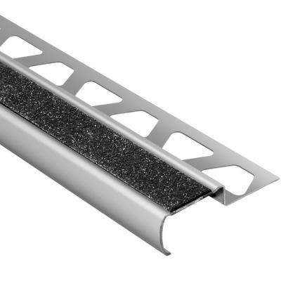 Trep-G-S Brushed Stainless Steel/Black 7/16 in. x 8 ft. 2-1/2 in. Metal Stair Nose Tile Edging Trim