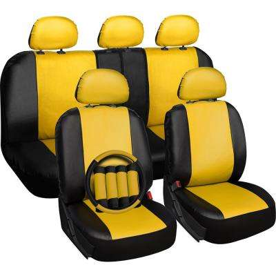 Polyurethane Seat Covers 21.5 in. L x 21 in. W x 31 in. H Seat Cover Set Yellow and Black (17-Piece)