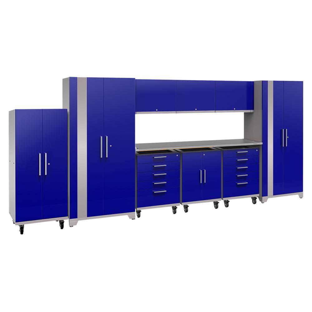 Performance Plus 2.0 80 in. H x 189 in. W x 24 in. D Steel Garage Cabinet Set in Blue (10-Piece)