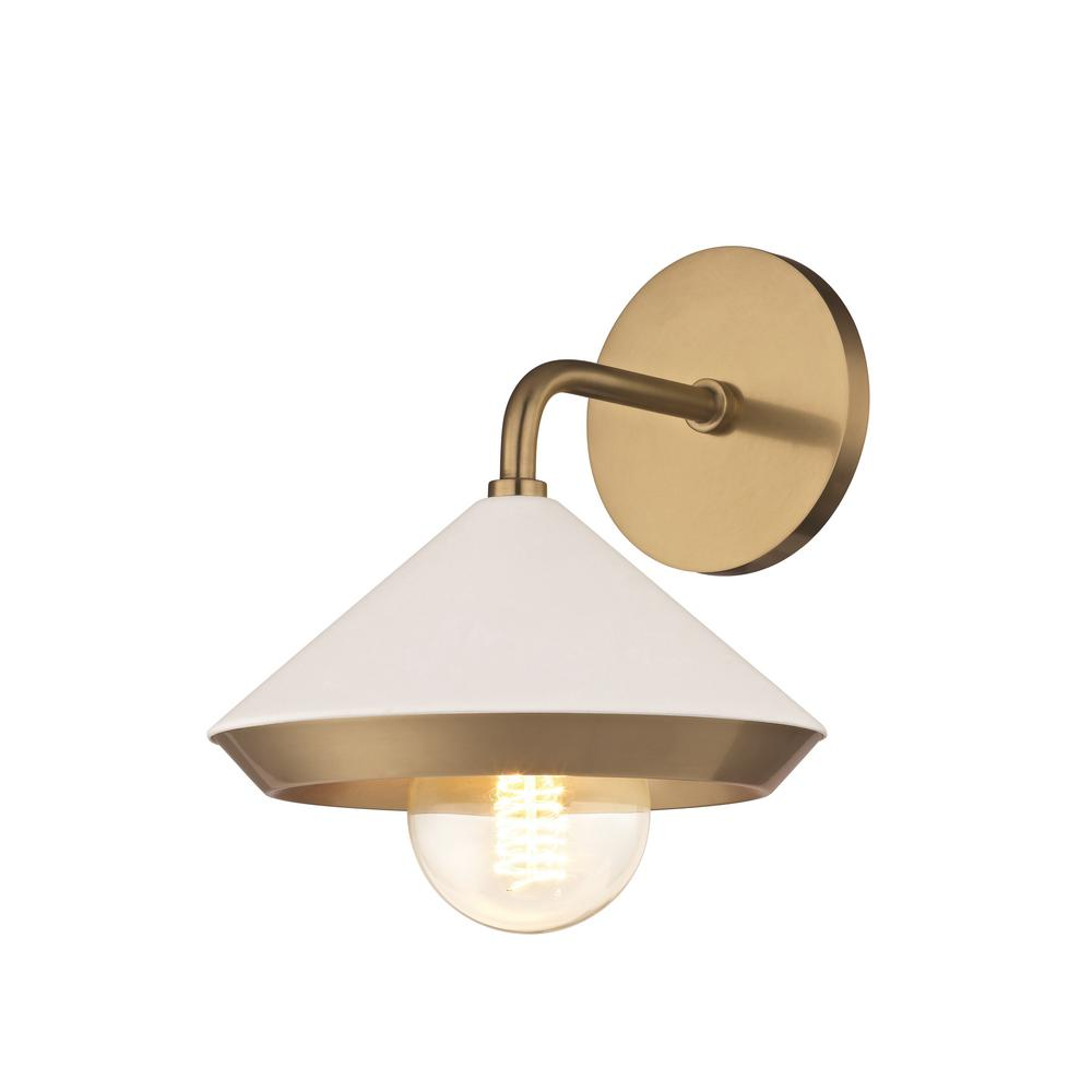 Mitzi by Hudson Valley Lighting Marnie 1-Light Aged Brass Wall Sconce with White Shade  sc 1 st  The Home Depot & Mitzi by Hudson Valley Lighting Marnie 1-Light Aged Brass Wall ...