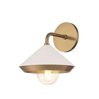 Marnie 1-Light Aged Brass Wall Sconce with White Shade