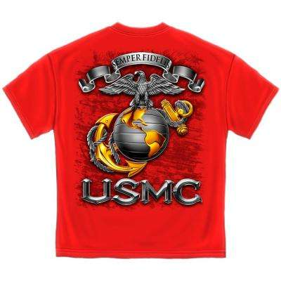 Men's 3X-Large Red Cotton Short Sleeved USMC T-Shirt