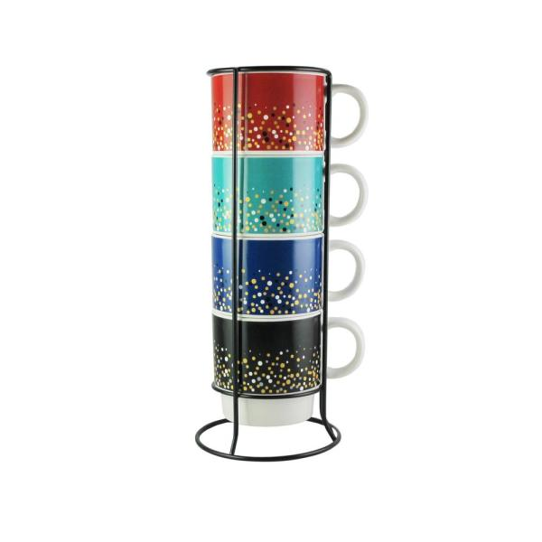 American Atelier 14 oz. Multi-Colored Ceramic Speckled Coffee Mugs with Metal