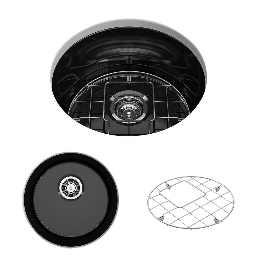 BOCCHI Sotto Undermount Fireclay 18.5 in. Single Bowl Round Kitchen Sink  with Bottom Grid and Strainer in Black