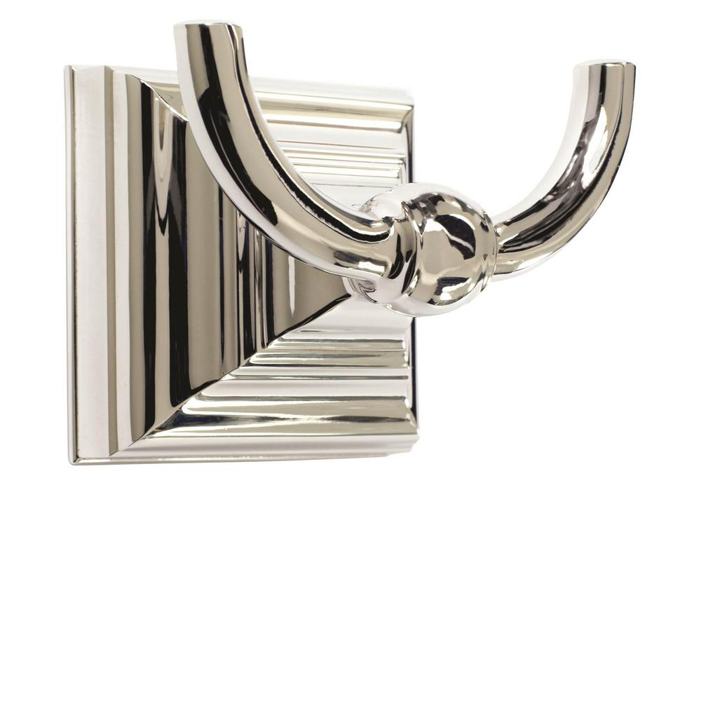 Amerock Markham Wall Mount Double Robe Hook in Polished Nickel