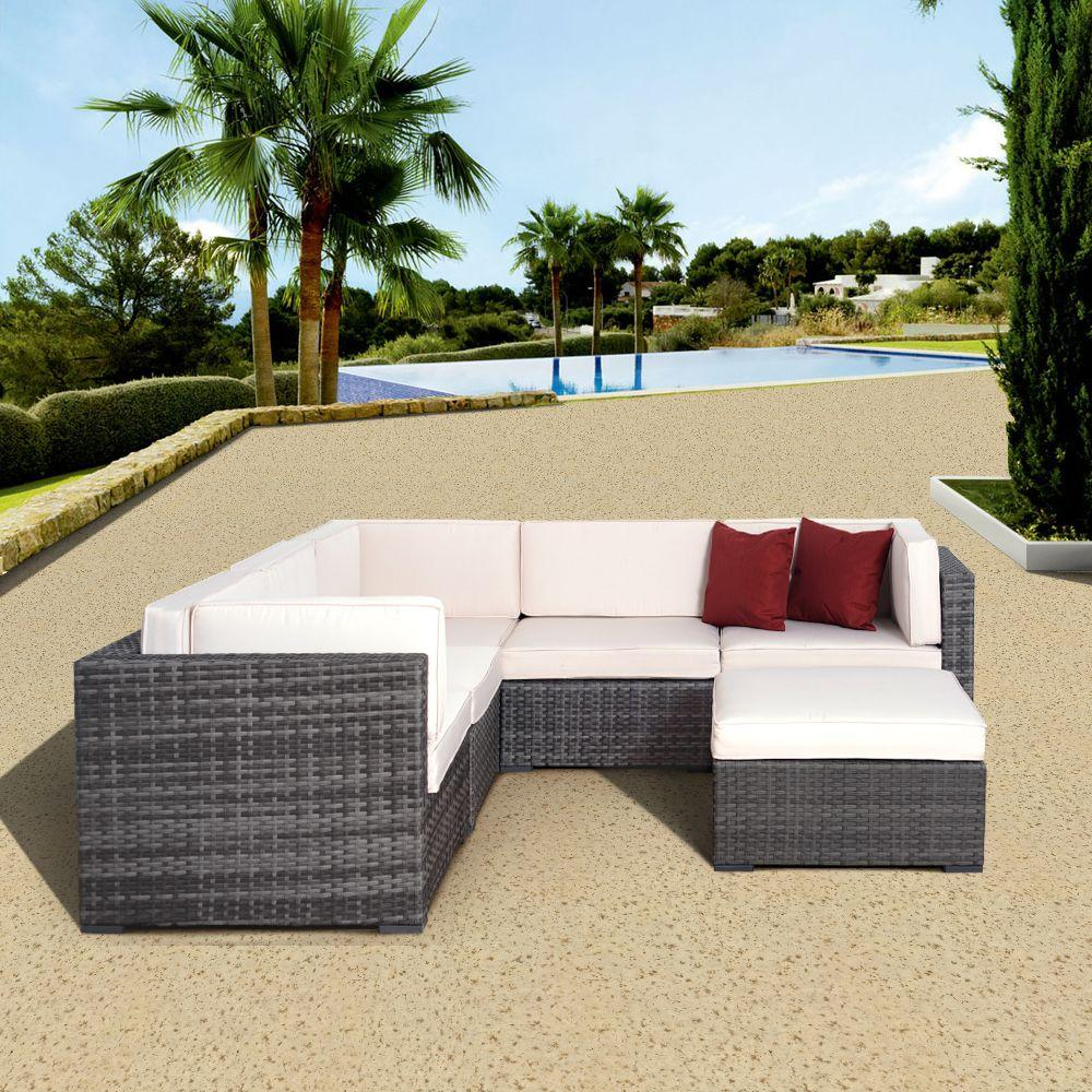 Grey Wicker Sectional Seating White Cushions