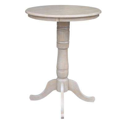 Weathered Taupe Gray Solid Wood Bar Table