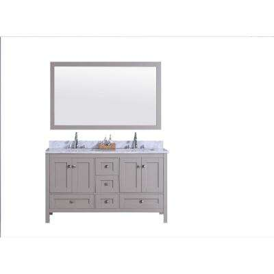 61 in. W x 22 in. D Vanity in Warm Gray with Marble Vanity Top in White and Gray with White Basin and Mirror