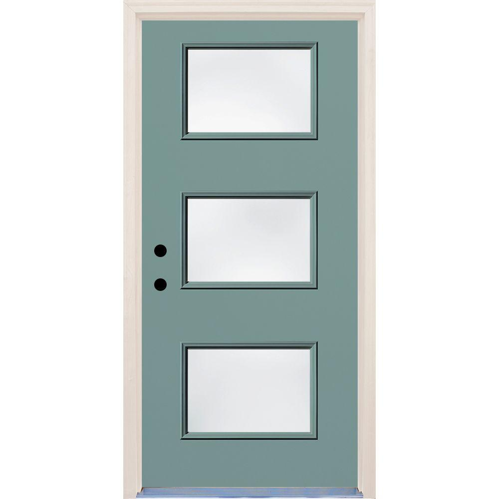 Builders Choice 36 in. x 80 in. Surf Right-Hand 3 Lite Clear Glass Painted Fiberglass Prehung Front Door with Brickmould