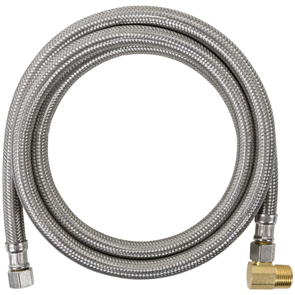 CERTIFIED APPLIANCE ACCESSORIES 4 ft. Braided Stainless Steel Dishwasher Connector with Elbow, Silver For years, licensed plumbers, electricians and appliance installers have relied on CERTIFIED APPLIANCE ACCESSORIES for their power cords, hoses and connectors. Now you can too. Enjoy the convenience offered by this 4 ft. dishwasher connector with elbow from CERTIFIED APPLIANCE ACCESSORIES. Its flexibility and durability ensure a reliable connection for your next home installation project. This hose has been thoroughly tested and is backed by a 5-year limited warranty. Check your appliance's manual for the correct specifications to ensure this is the right connector hose for you. Thank you for choosing CERTIFIED APPLIANCE ACCESSORIES Your Appliance Connection Solution. Color: Stainless Steel.