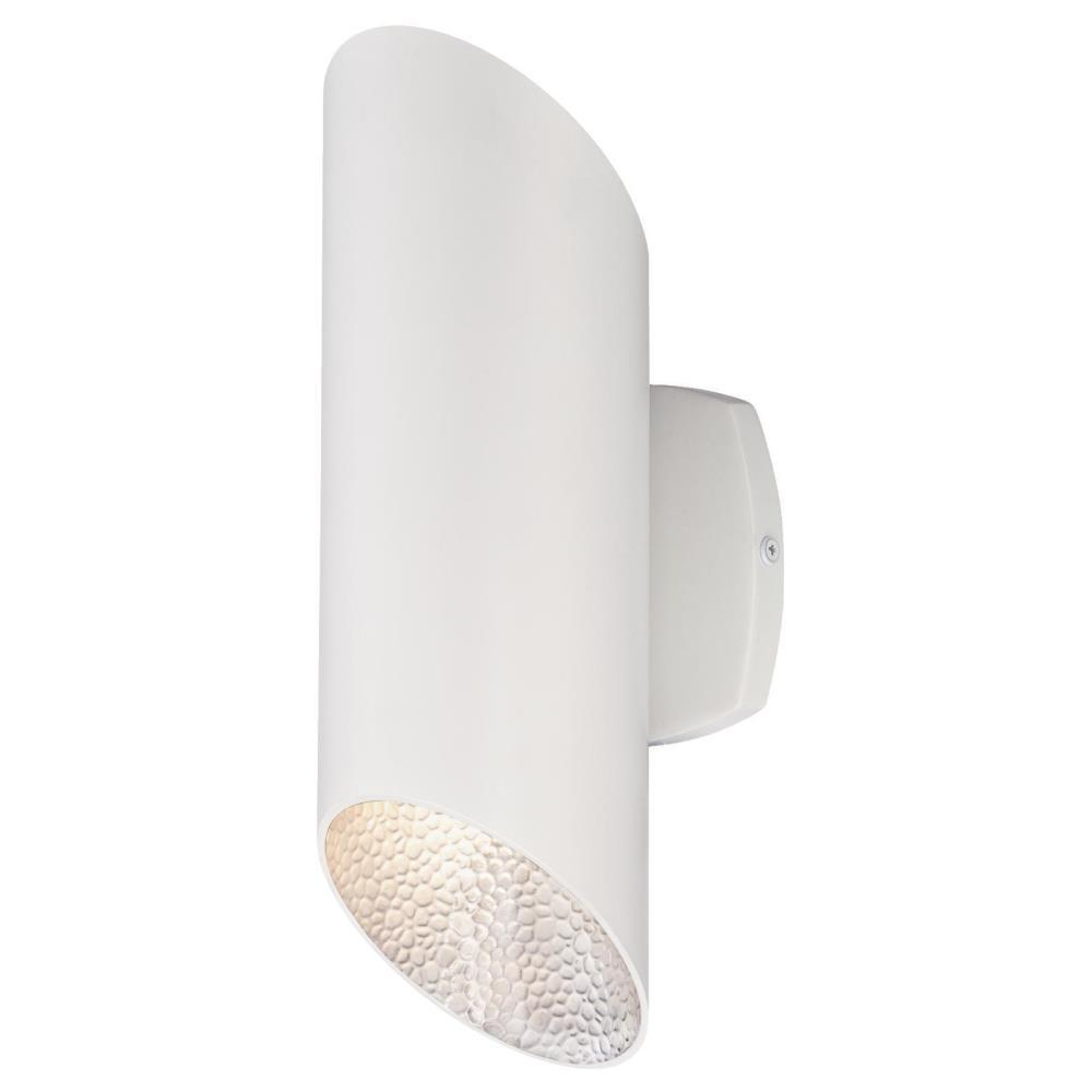 Westinghouse Skyline 2-Light White with Hammered Silver Interior Outdoor Integrated LED Wall Mount Cylinder Light