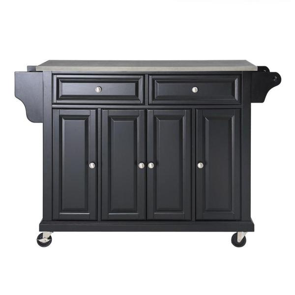 Full Size Black Kitchen Cart with Stainless Top