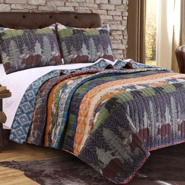 Greenland Home Fashions Black Bear Lodge 3-Piece Multi King Quilt Set