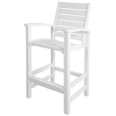 Signature White Patio Bar Chair