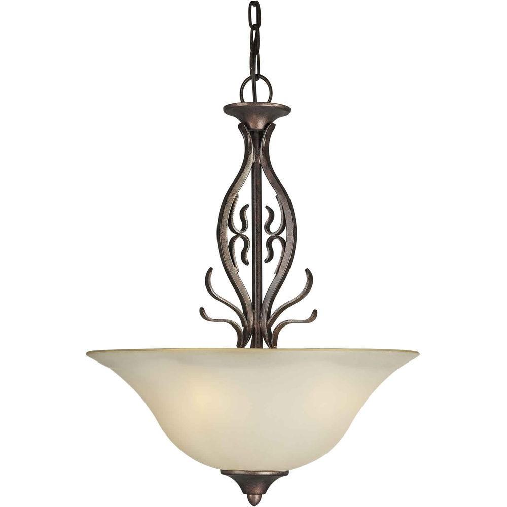 Burton 3-Light Black Cherry Incandescent Ceiling Pendant