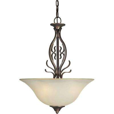 Burton 3-Light Black Cherry Incandescent Ceiling Pendant