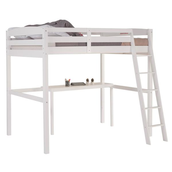 White Full Size High Loft Bed With Desk