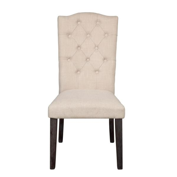 Gerardo Beige Linen and Weathered Espresso Side Chair