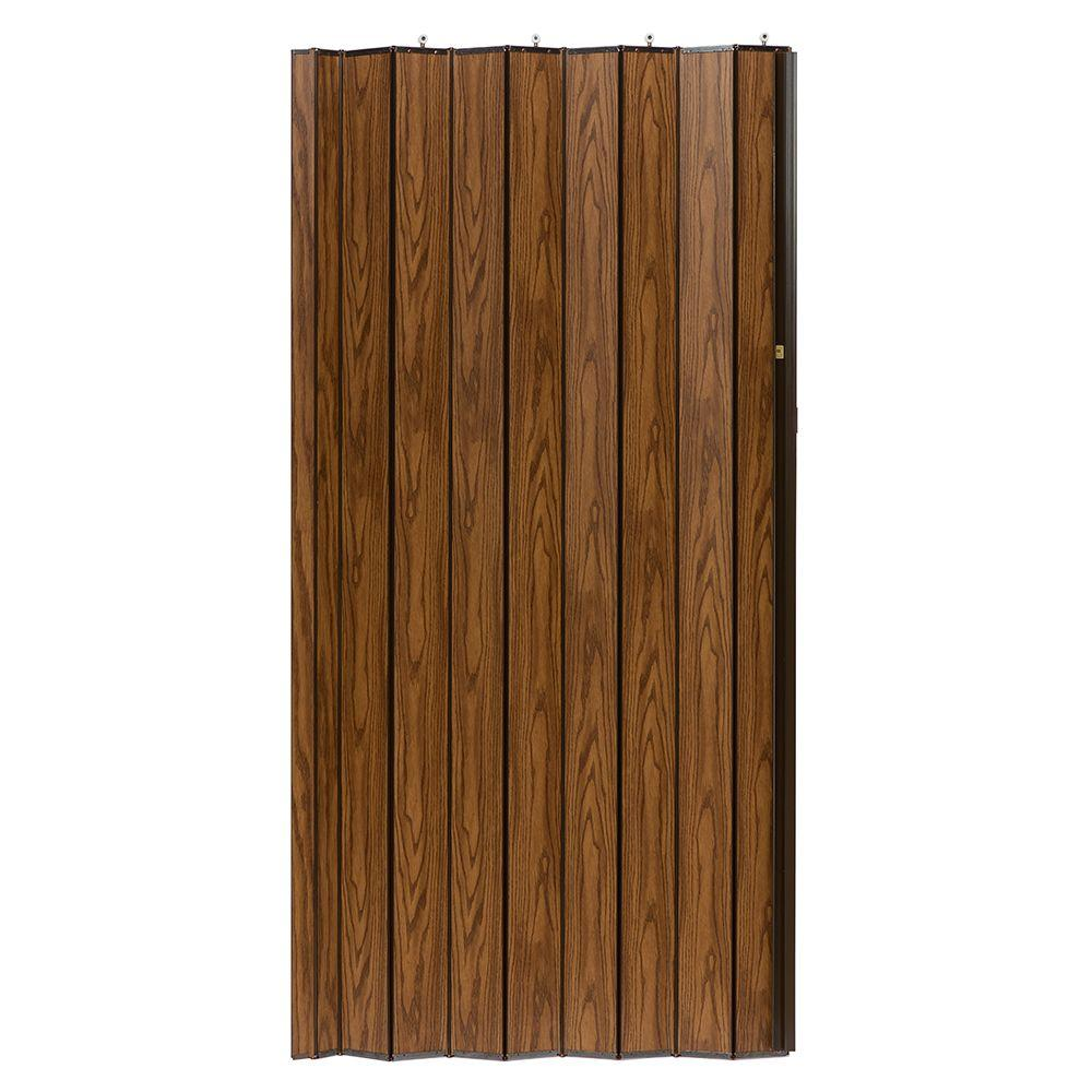 48 in. x 80 in. Woodshire Vinyl-Laminated MDF Dark Oak Accordion
