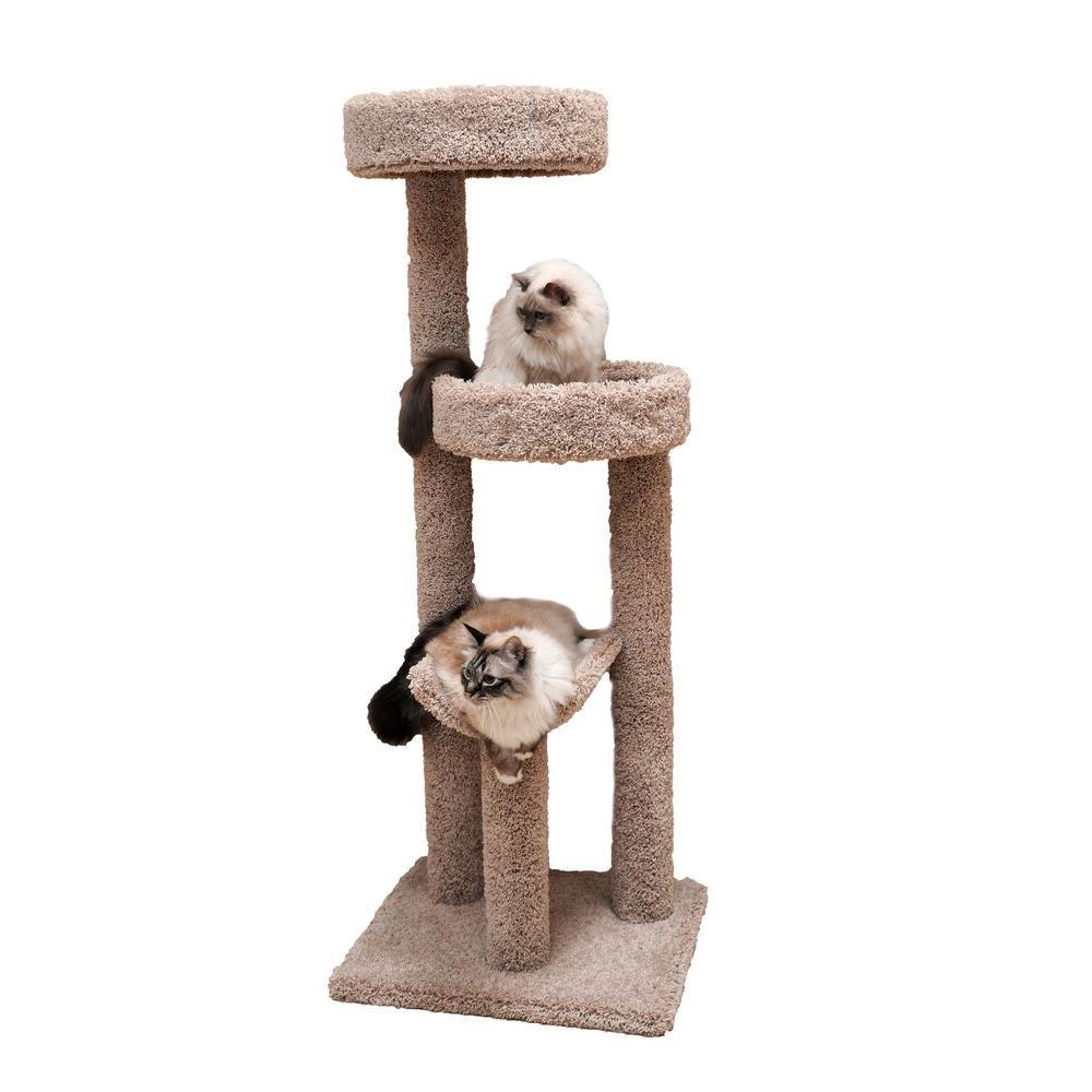 60 in. Beige Cozy Climber Cat Tower