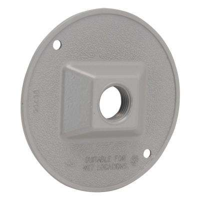 4 in. Gray Round Weatherproof Cluster Cover with one 1/2 in. Threaded Outlet