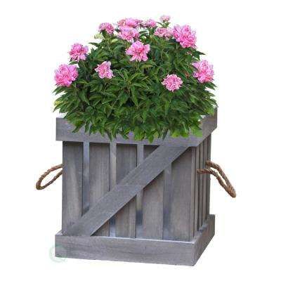 9.5 in. W x 9.5 in. D x 9.5 in. H Distressed Wood Crate Planter