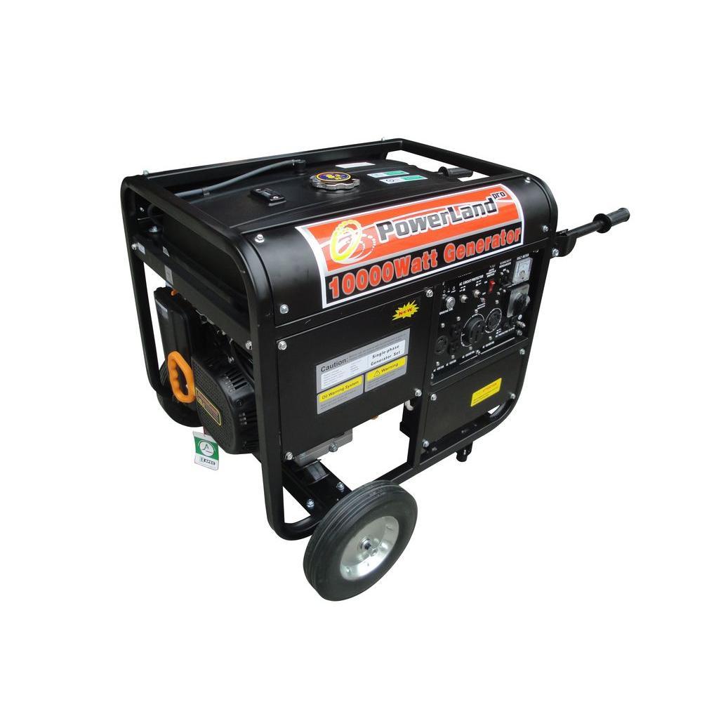 Powerland 10,000-Watt 1 Gasoline Powered Electric Start Portable Generator with Auto Idle Control