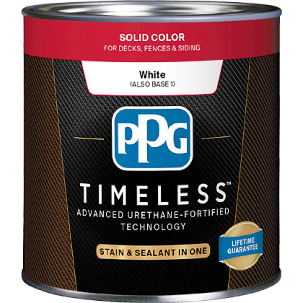 Ppg timeless 3 gal tsc 53 white base 1 solid color exterior wood stain ppg3101v 03 the home depot - Exterior white wood paint collection ...