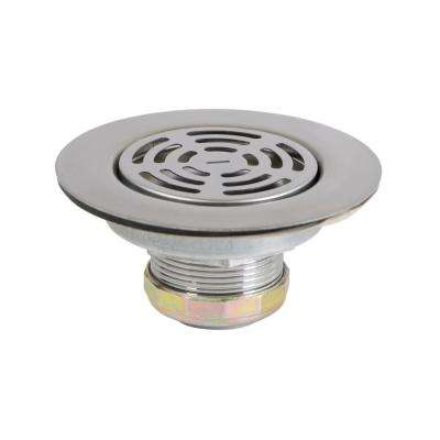 3-1/2 in. - 4 in. Flat Stainless Steel RV Mobile Shower Strainer - Drain Assembly for Kitchen or Laundry Sinks
