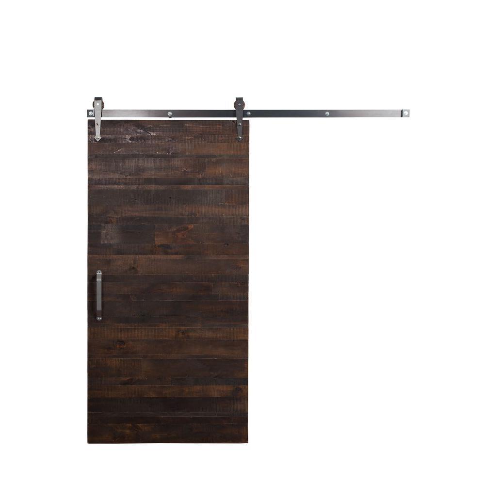 42 in. x 84 in. Rustica Reclaimed Wood Barn Door with Arrow Sliding Door Hardware Kit