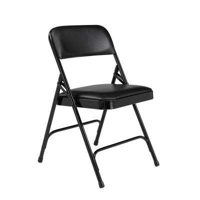 NPS 1200 Series Vinyl Black Upholstered Premium Folding Chair (Pack of 4)