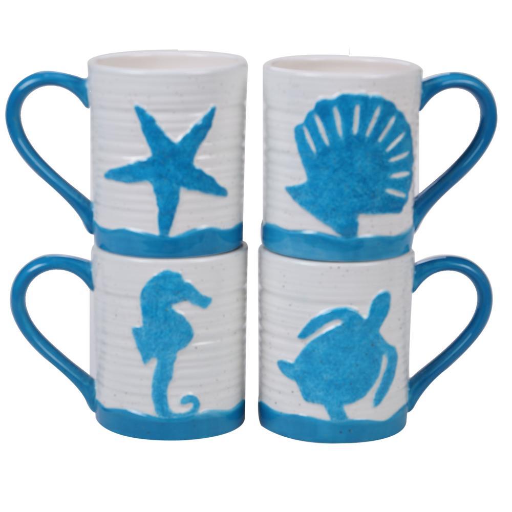 Natural Coast 4-Piece Country/Cottage Multi-Colored Ceramic 18 oz. Mug Set (Service for 4)