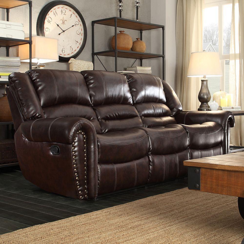 HomeSullivan Merida Chocolate Leather Sofa-409668BRW-3 - The Home Depot & HomeSullivan Merida Chocolate Leather Sofa-409668BRW-3 - The Home ... islam-shia.org