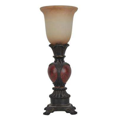 Carved 16 in. Red Table Lamp with Glass Shade