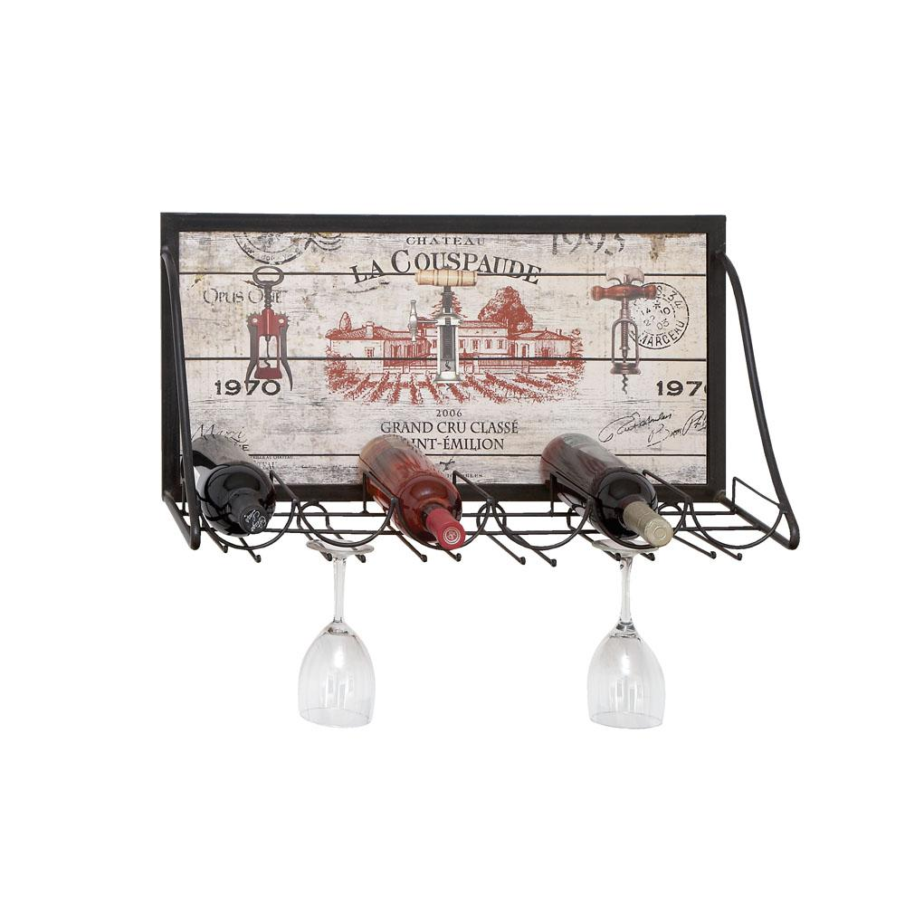 Wood And Iron 6 Bottle Wall Mounted Wine Rack With Stemware Holder