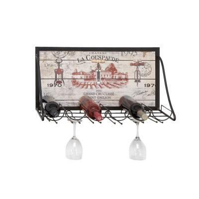 Wood and Iron 6-Bottle Wall Mounted Wine Rack with Stemware Holder