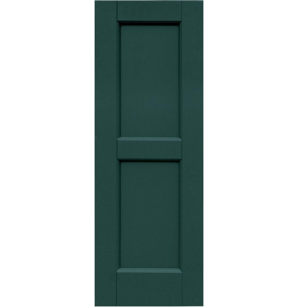 Winworks Wood Composite 12 in. x 34 in. Contemporary Flat Panel Shutters Pair #633 Forest Green