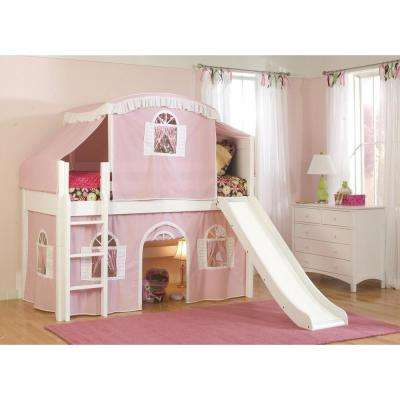 Cottage White Twin Low Loft Bed with Pink and White Top Tent, Bottom Curtain, and Slide